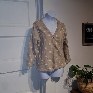 Liz Claiborne small tan and white dot Cardigan